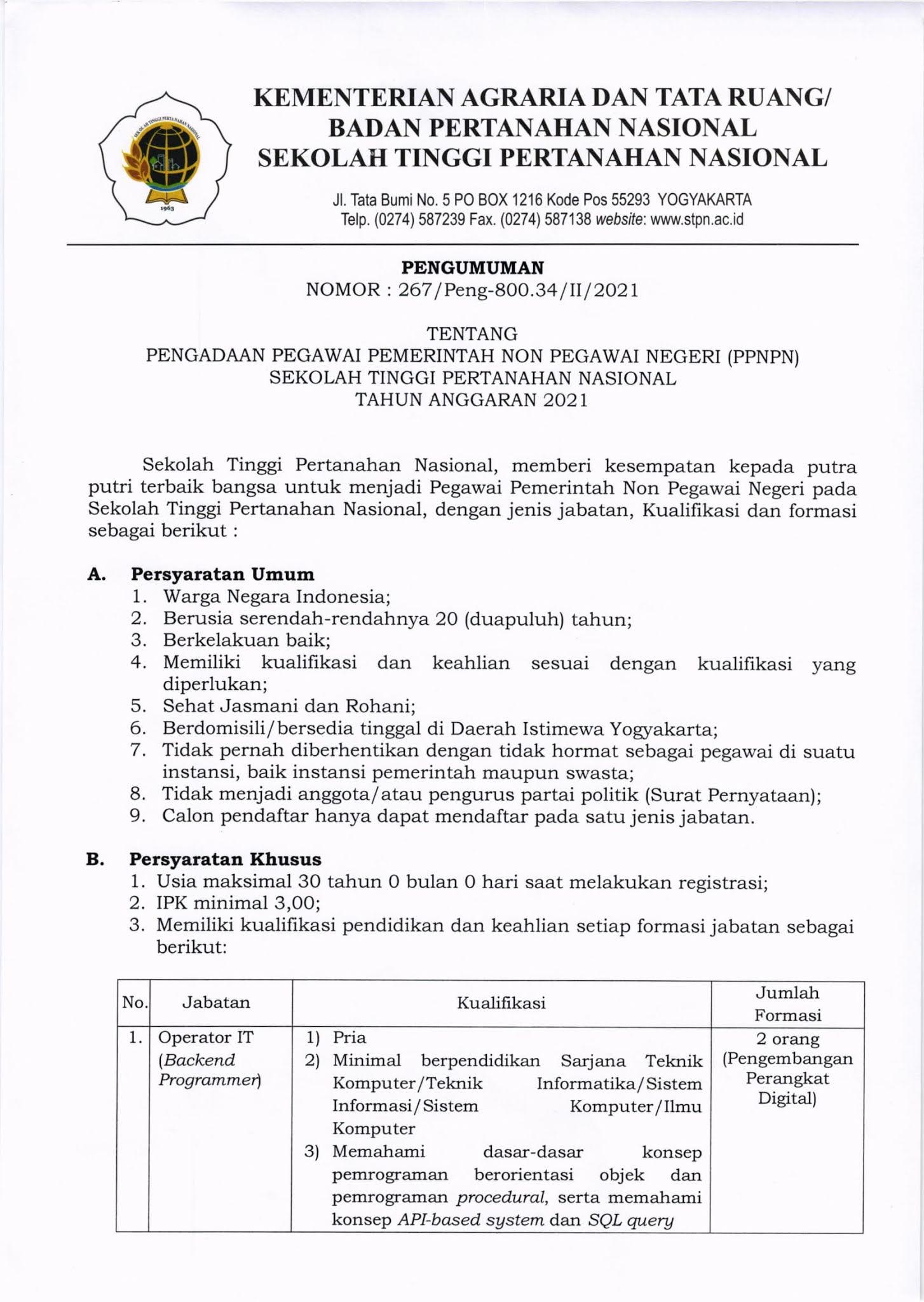 Pegawai PPNPN STPN Kementerian Agraria dan Tata Ruang Tahun Anggaran 2021